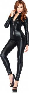 Verführerisches Damenkostüm Geheimagentin Catsuit schwarz