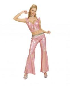 70er Disco Glitzer-Top bauchfrei mit Schleife rosa