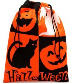 Süssigkeiten Tasche Halloween Kostumzubehör schwarz-orange-weiss 30x40cm
