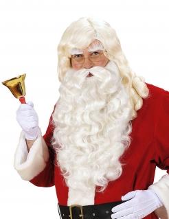 Weihnachtsmann-Bart mit Perücke und Augenbrauen weiss
