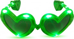 Leuchtende Herzbrille mit LED grün