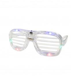 Leuchtende Spassbrille mit LED transparent