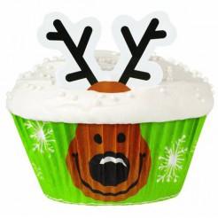 Cupcake-Schalen Rentier-Motiv 24 Stück grün-braun