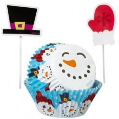 Weihnachtliche Cupcake-Formen Motiv Schneemann
