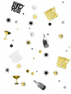 Silvester-Konfetti Sektflaschen und Sterne silber-schwarz-gold 34g