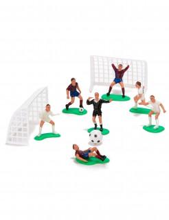 Fussballfiguren mit Fussballtoren Kuchendeko 10-teilig bunt