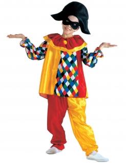 Lustiges Harlekin Kinder-Kostüm rot-gelb-bunt