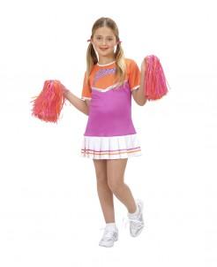 Cheerleaderin High School Kinderkostüm orange-pink-weiss