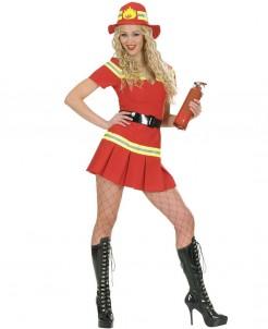 Feuerwehrfrau Damenkostüm Minikleid rot-gelb