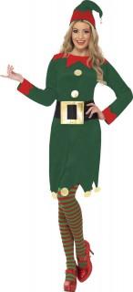 Damenkostüm Weihnachtselfe grün-rot