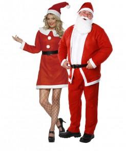 Weihnachtsmann und Weihnachtsfrau-Paarkostüm Weihnachten rot-weiss