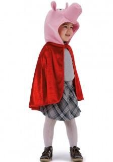 Schweinchen-Cape für Kinder rot