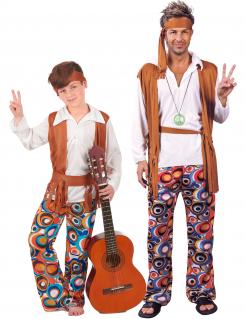 Hippie-Paarkostüm für Vater und Sohn bunt