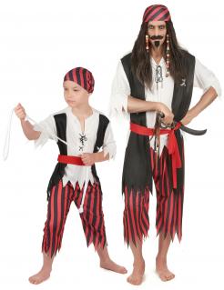 Piraten-Paarkostüm für Vater und Sohn Karneval schwarz-rot