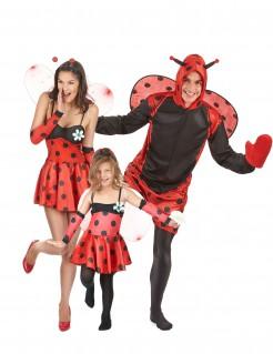 Lustige Marienkäfer Gruppenkostüm-Set für Familien rot-schwarz