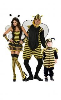 Bienen-Familie Gruppenkostüm schwarz-gelb