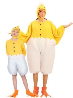Oster-Paarkostüm Küken für Kinder und Eltern gelb-weiss