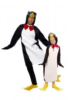 Pinguin-Paarkostüm für Erwachsenen und Kind bunt