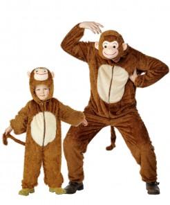 Affen-Paarkostüm Eltern und Kind Fasching braun