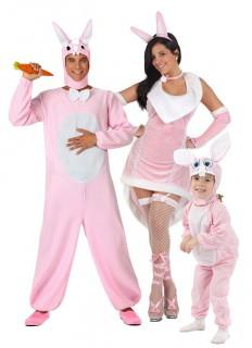 Kaninchen-Gruppenkostüm Vater, Mutter, Kind rosafarben-weiss