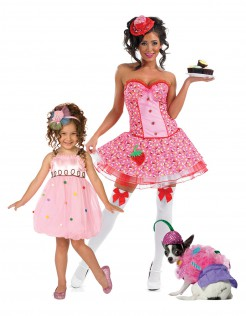 Cupcake Gruppenkostüm Mutter, Tochter, Hund bunt