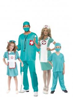 Chirurgen-Familienkostüm Karneval türkis