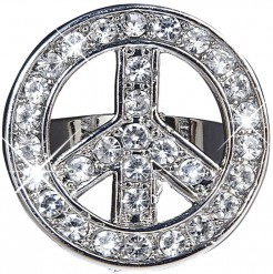 Hippie Strass-Ring Peace silber