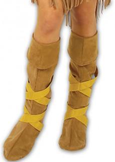 Indianerin Stiefelstulpen braun-beige