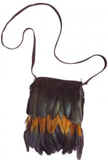 Indianer Handtasche Federn schwarz-braun