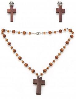 Schmuck-Set Nonne Rosenkranz und Kreuz-Ohrringe braun