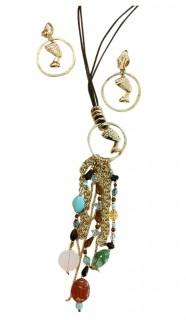 ägypterin Schmuck-Set Cleopatra Halskette und Ohrringe gold-türkis