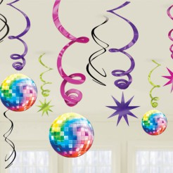 70er Disco Swirls Party-Deko 12 Stück bunt 55cm