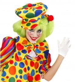 Clown Schirmmütze mit Punkten gelb-bunt