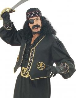 Piraten Weste Totenkopf schwarz-gold