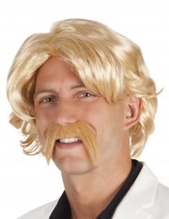 Perücke mit Schnurrbart für Herren blond