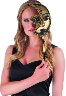 Halbmaske Venezianischer Karneval schwarz-gold