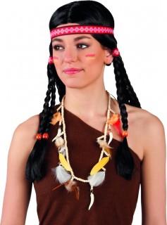 Indianerin Halskette Kostümaccessoire bunt 90cm