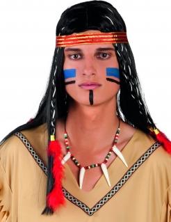 Indianer-Halskette mit Zähnen Indianer-Accessoire bunt 72cm