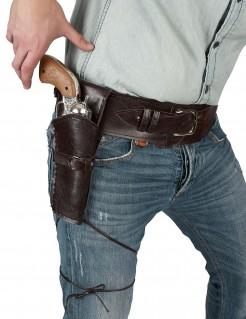 Cowboy Pistolengürtel Duell mit Holster antikbraun 90cm