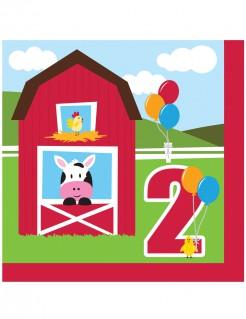 Bauernhof-Servietten für Kinder 2. Geburtstag 18 Stück bunt 33x33cm
