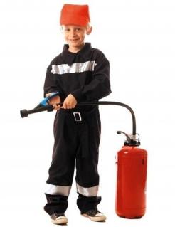 Kostüm Feuerwehrmann für Jungen schwarz-silber