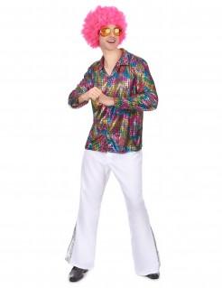 Disco-Hemd Kostüm-Zubehör bunt