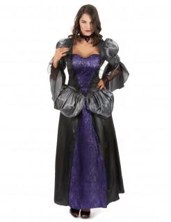 Vampir-Königin Damenkostüm lila-grau-schwarz