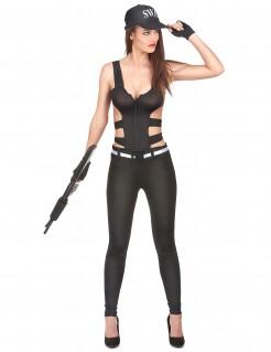 SWAT Agentin Damenkostüm schwarz-weiss