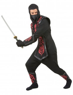 Ninja-Herrenkostüm Dunkler Ninjakrieger schwarz-rot