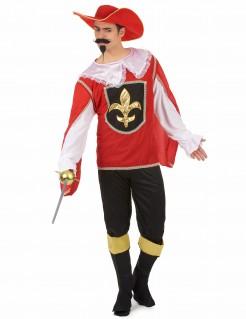 Musketier Herrenkostüm rot-schwarz-gold