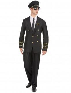 Nobler Kapitän Kostüm Uniform schwarz-gold