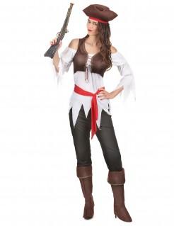 Piratenkostüm Damen braun-weiss-rot