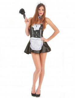 Sexy Zimmermädchenkostüm für Damen schwarz-weiss