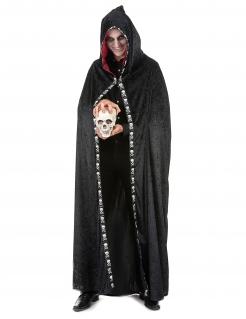 Skull Halloween Kapuzen-Umhang Totenkopf-Cape schwarz-weiss